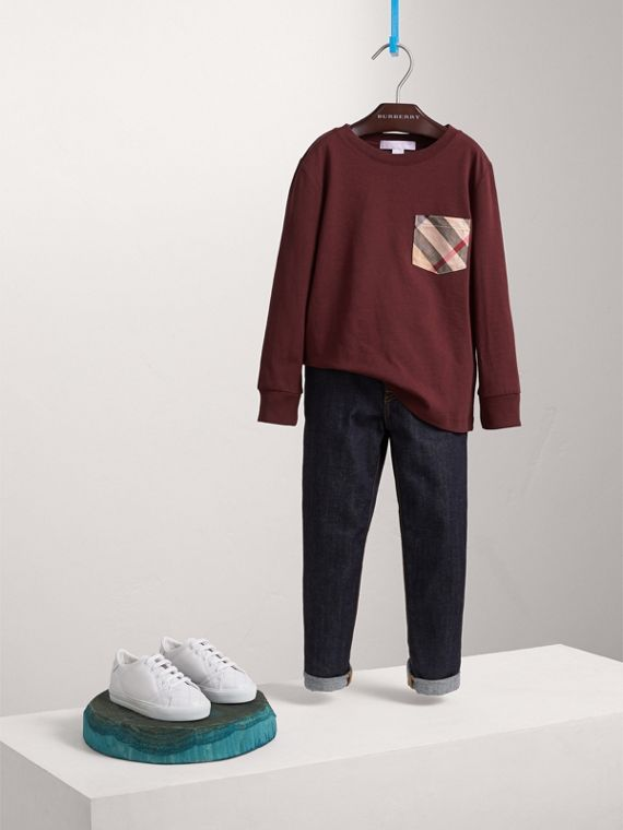 Long-sleeve Check Pocket Cotton T-shirt in Oxblood