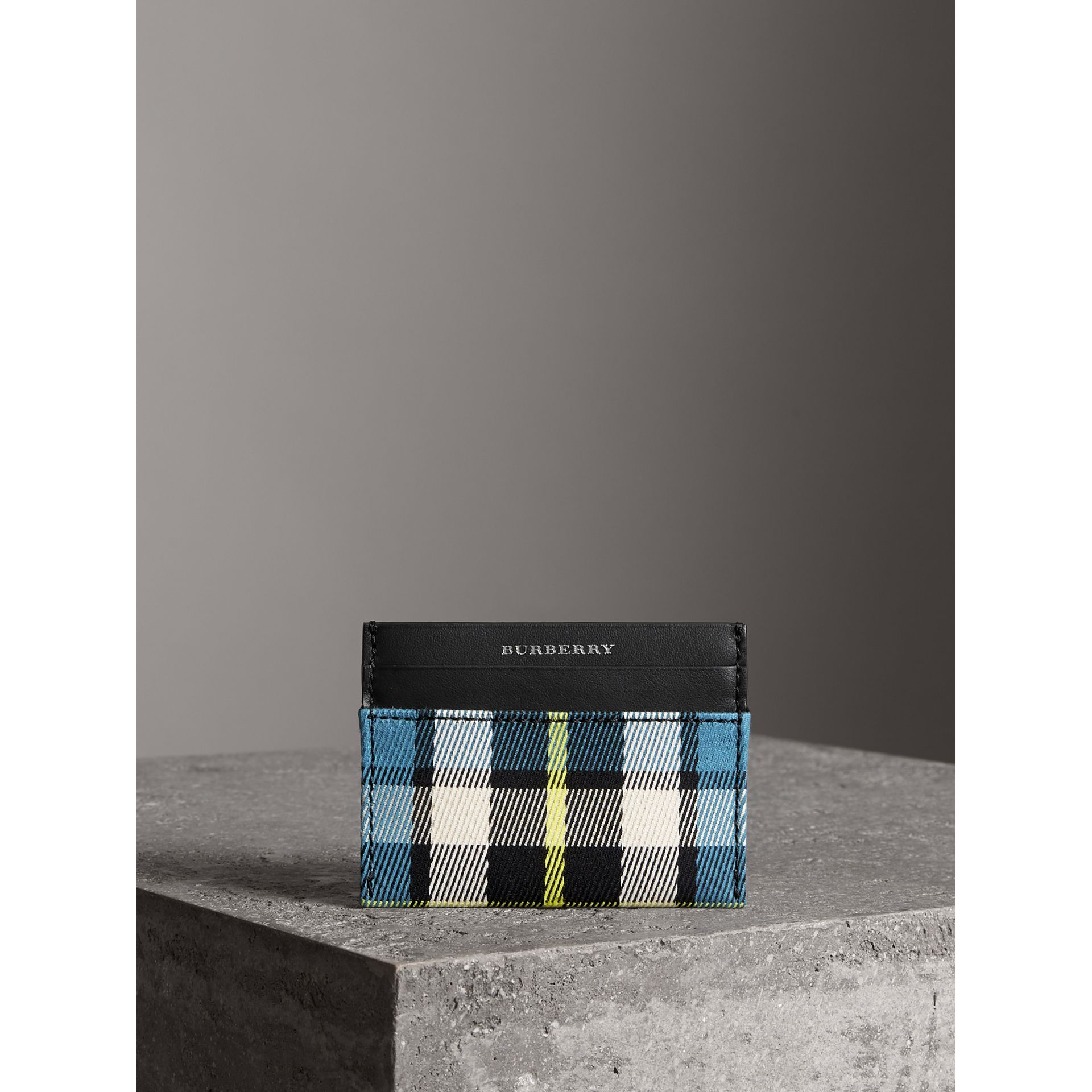 Tartan Check and Leather Card Case in Dark Blue/black | Burberry - gallery image 4