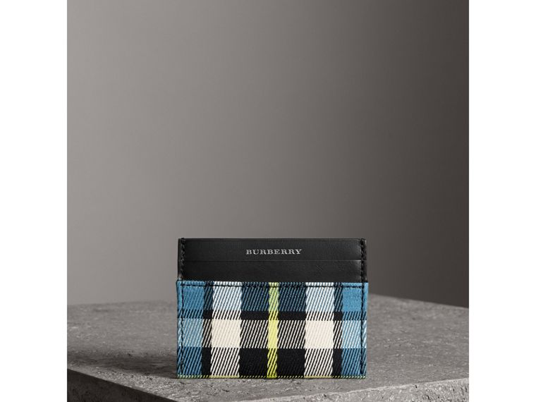 Tartan Check and Leather Card Case in Dark Blue/black | Burberry - cell image 4