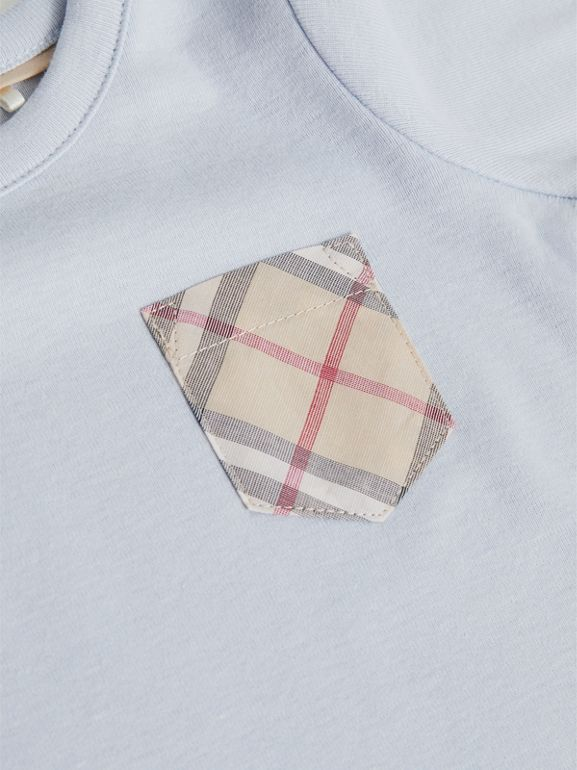 Check Cotton Three-piece Baby Gift Set in Ice Blue - Children | Burberry - cell image 1