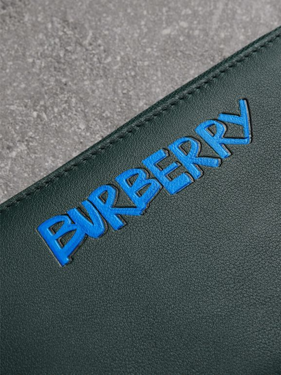 Graffiti Print Leather Ziparound Wallet in Deep Bottle Green - Men | Burberry - cell image 1
