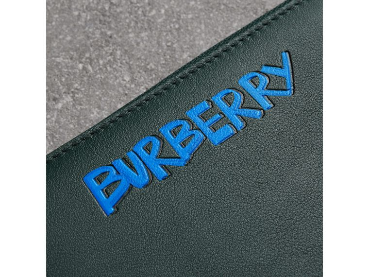 Graffiti Print Leather Ziparound Wallet in Deep Bottle Green - Men | Burberry Canada - cell image 1