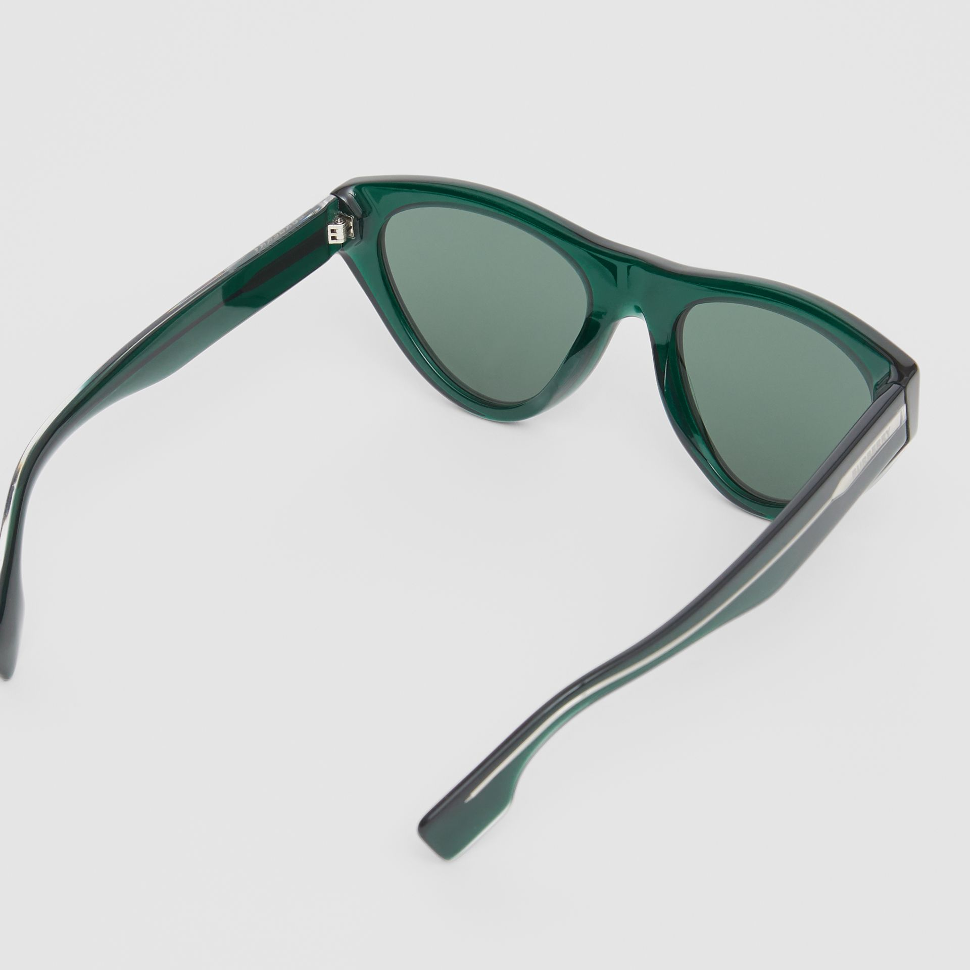 Triangular Frame Sunglasses in Green - Women | Burberry Canada - gallery image 4