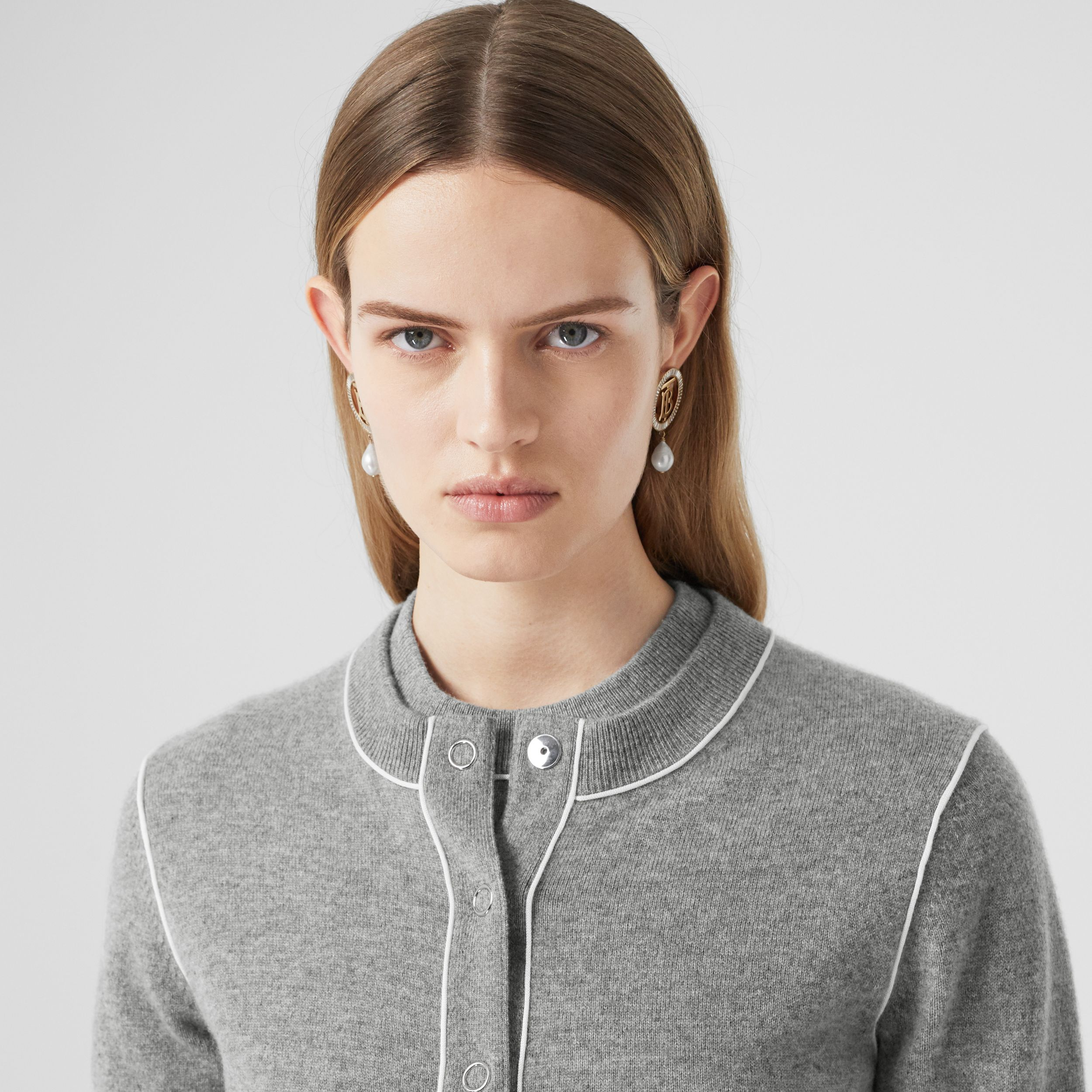 Silk Trim Monogram Motif Cashmere Cardigan in Grey Melange - Women | Burberry Australia - 2