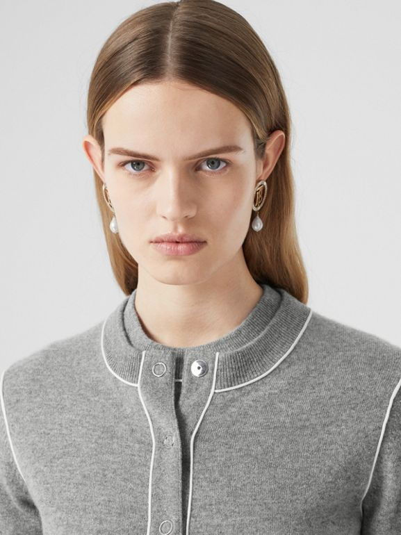 Silk Trim Monogram Motif Cashmere Cardigan in Grey Melange - Women   Burberry - cell image 1