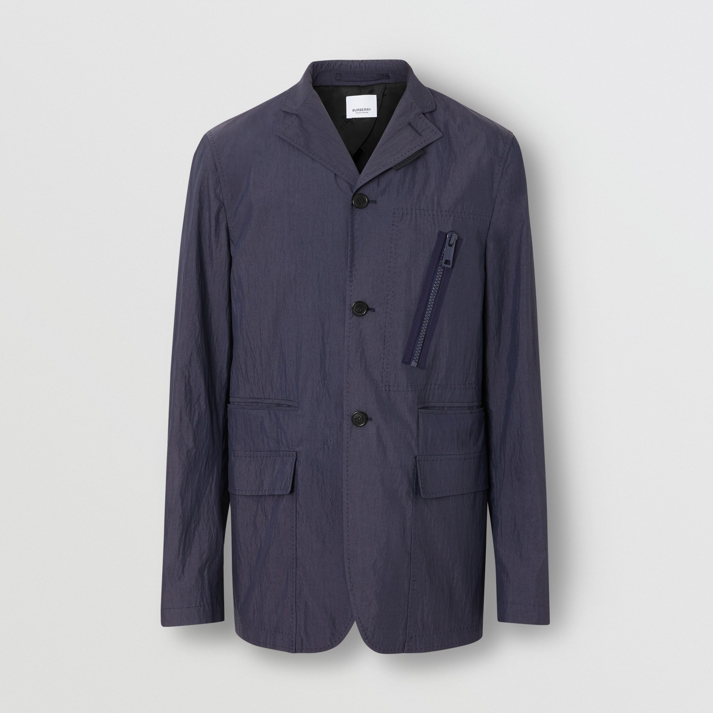 Crinkled Cotton Blend Tailored Jacket in Navy | Burberry - 4