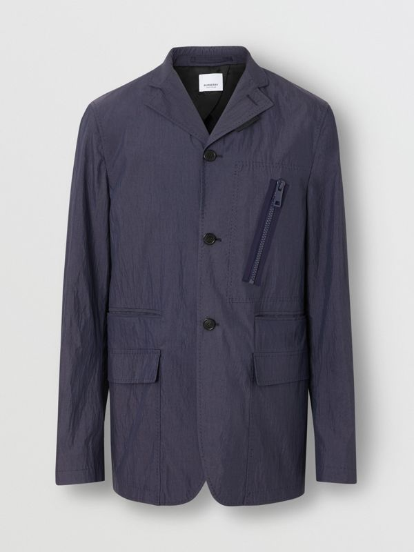 Crinkled Cotton Blend Tailored Jacket in Navy - Men | Burberry - cell image 3