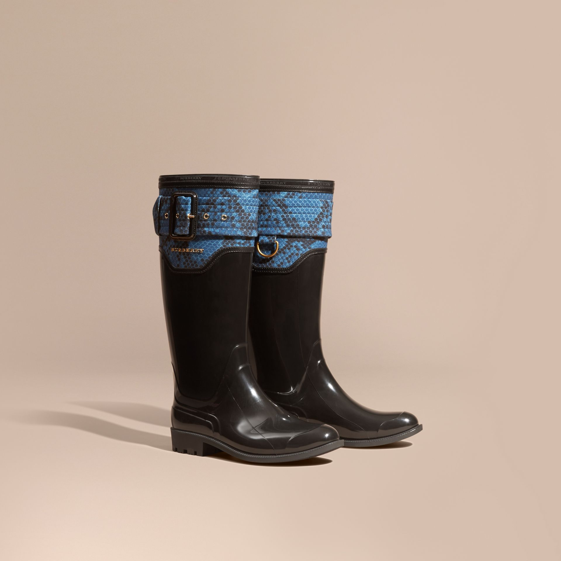 Black/mineral blue Python Print Detail Rain Boots - gallery image 1