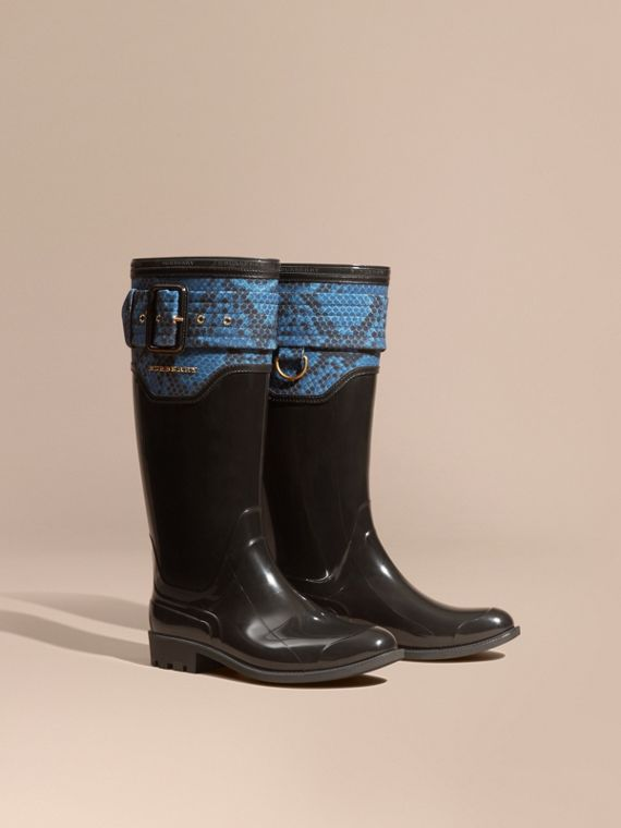 Botas de agua con panel en estampado de pitón Negro/azul Mineral