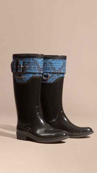 Stivali da pioggia con dettaglio con stampa pitone