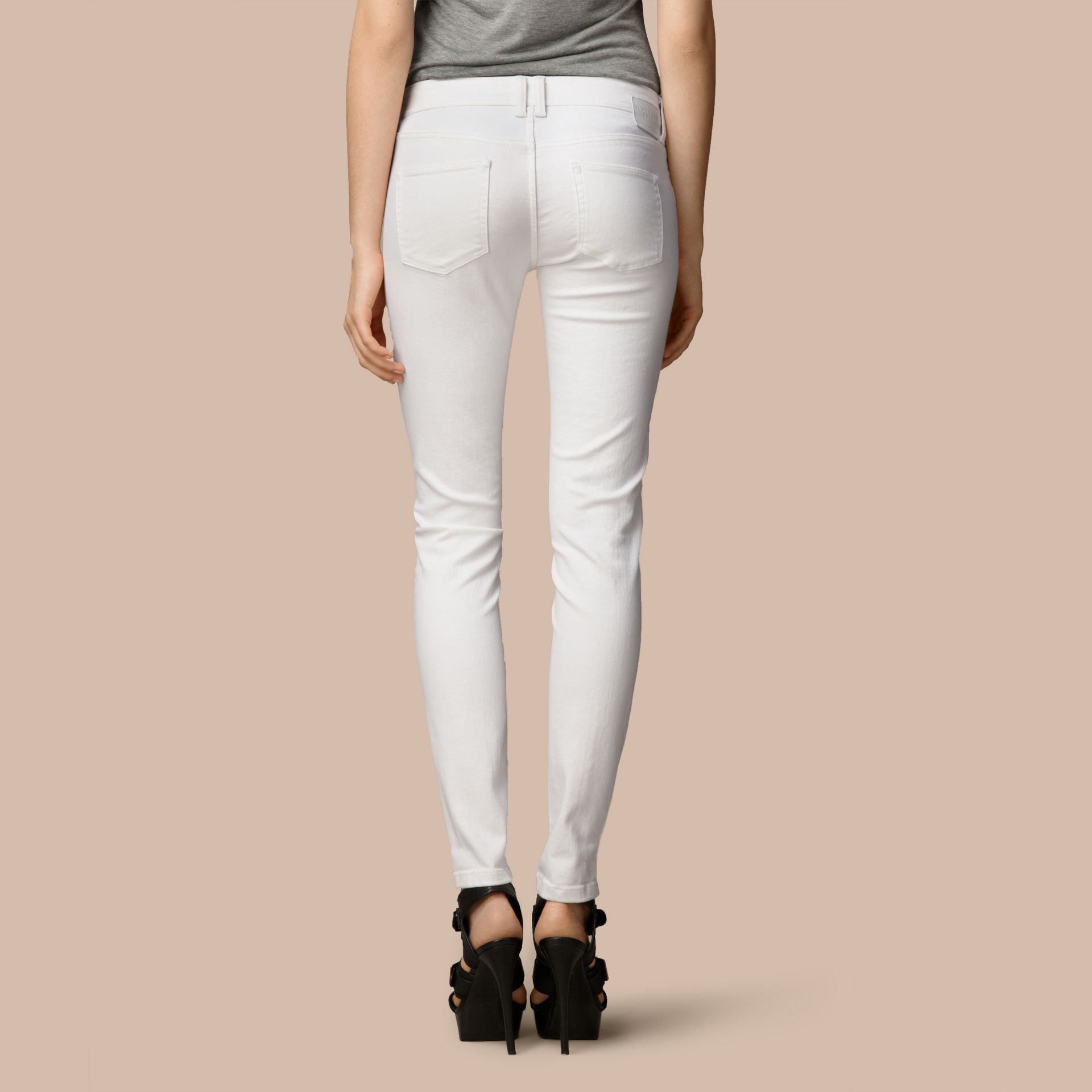 Skinny Fit Low-Rise White Jeans - gallery image 3