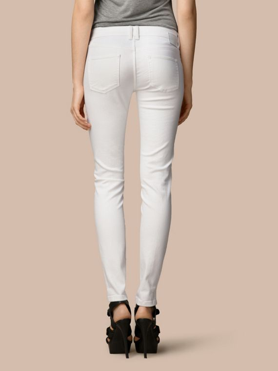 Skinny Fit Low-Rise White Jeans - Women | Burberry - cell image 2