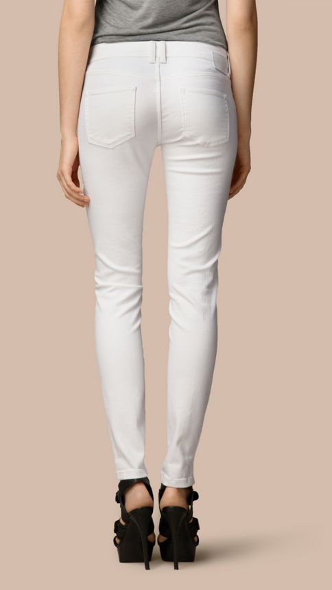 White Skinny Fit Low-Rise White Jeans - Image 3