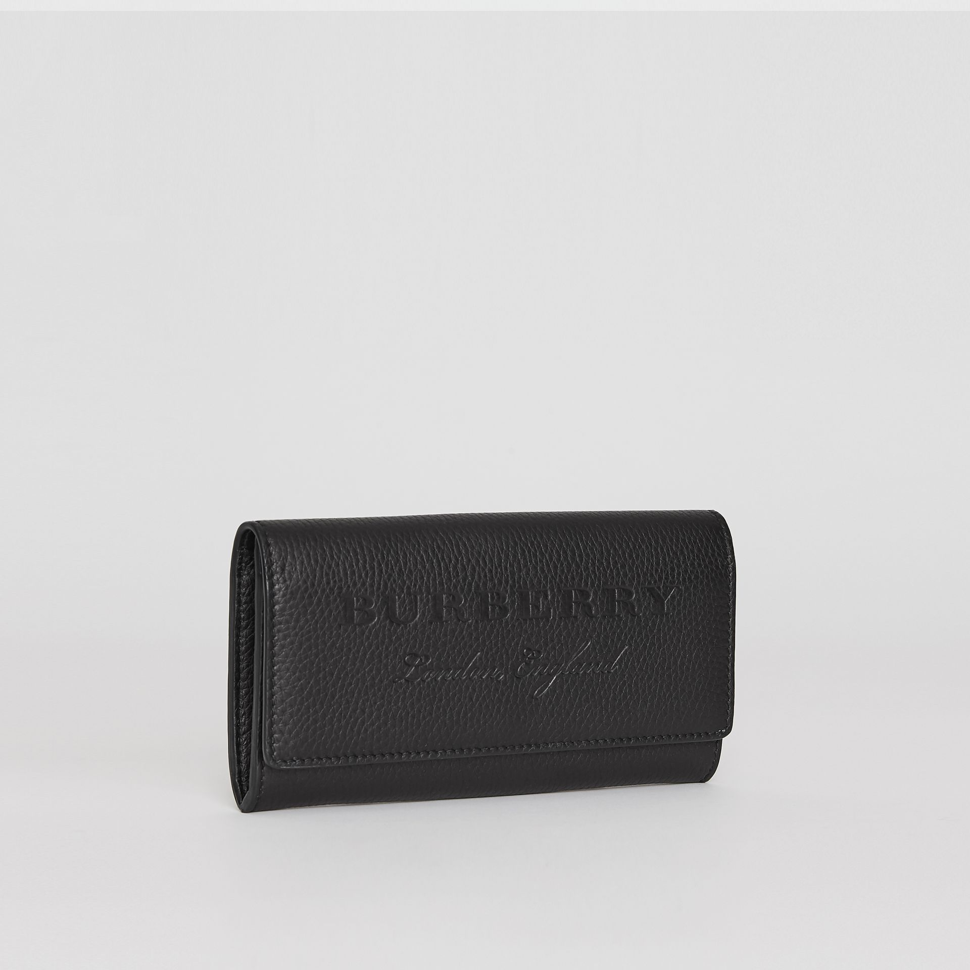 Embossed Leather Continental Wallet in Black - Women | Burberry - gallery image 4