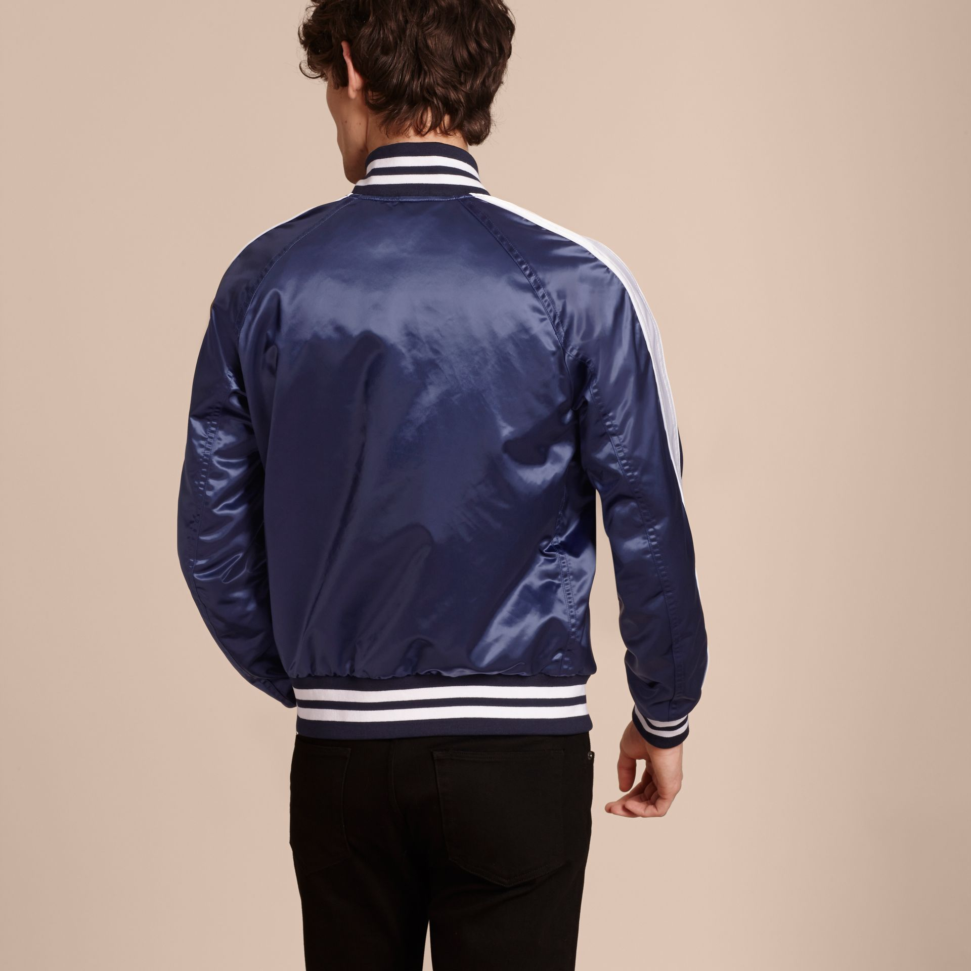 Bright navy Varsity Bomber Jacket - gallery image 3