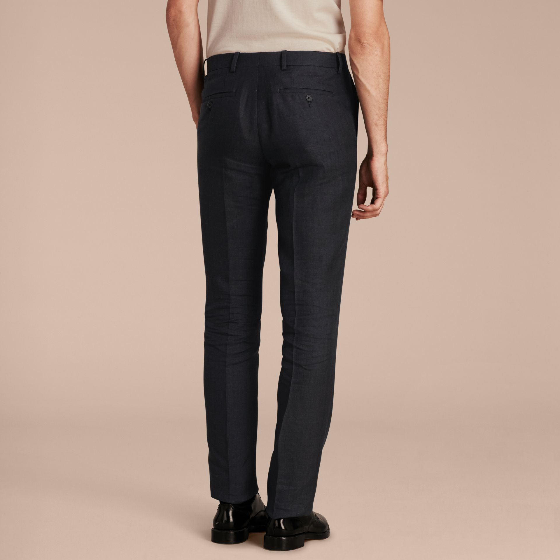 Dark navy Modern Fit Linen Wool and Silk Trousers - gallery image 3
