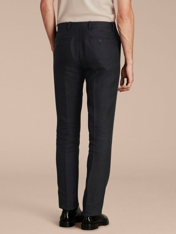 Dark navy Modern Fit Linen Wool and Silk Trousers - cell image 2