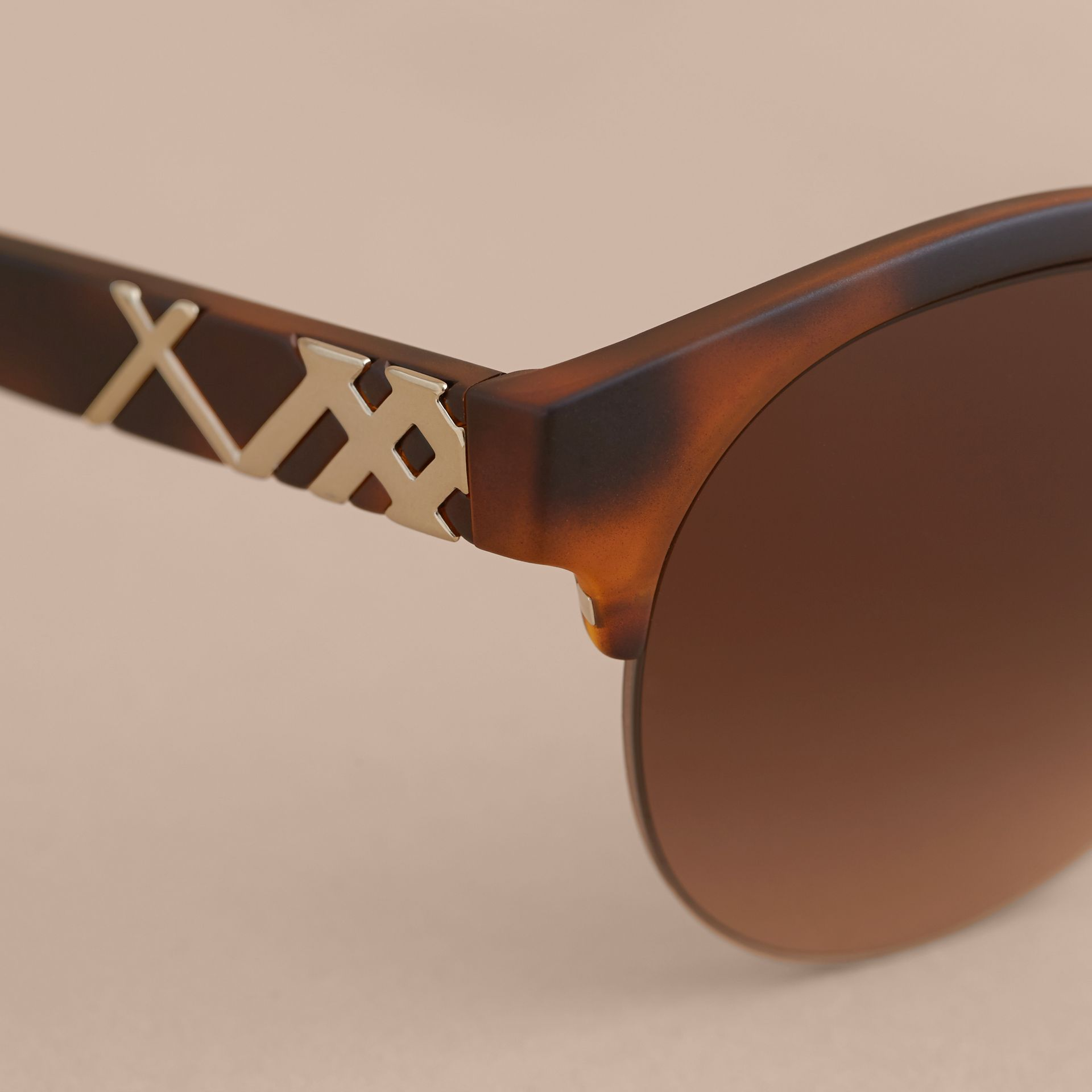 Check Detail Round Half-frame Sunglasses in Brown - Women | Burberry United Kingdom - gallery image 1