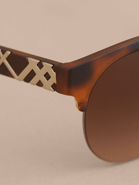 Check Detail Round Half-frame Sunglasses in Brown - Women | Burberry - cell image 1