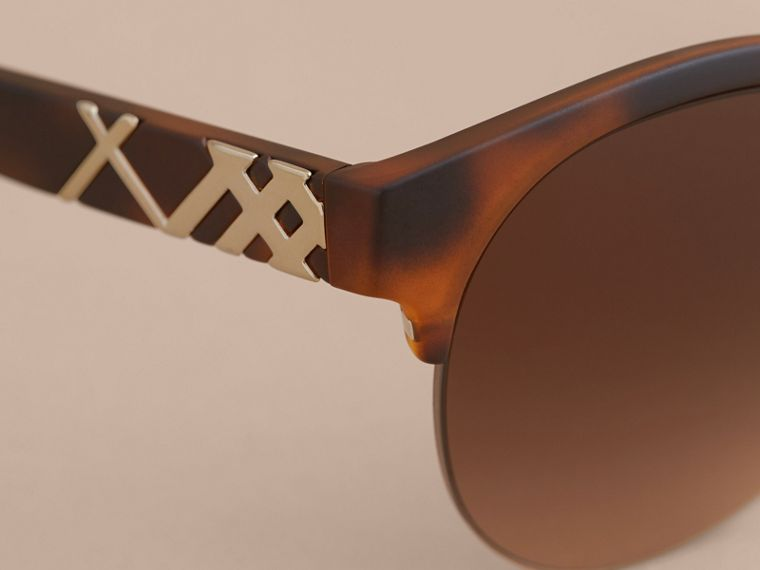 Check Detail Round Half-frame Sunglasses in Brown - Women | Burberry Canada - cell image 1
