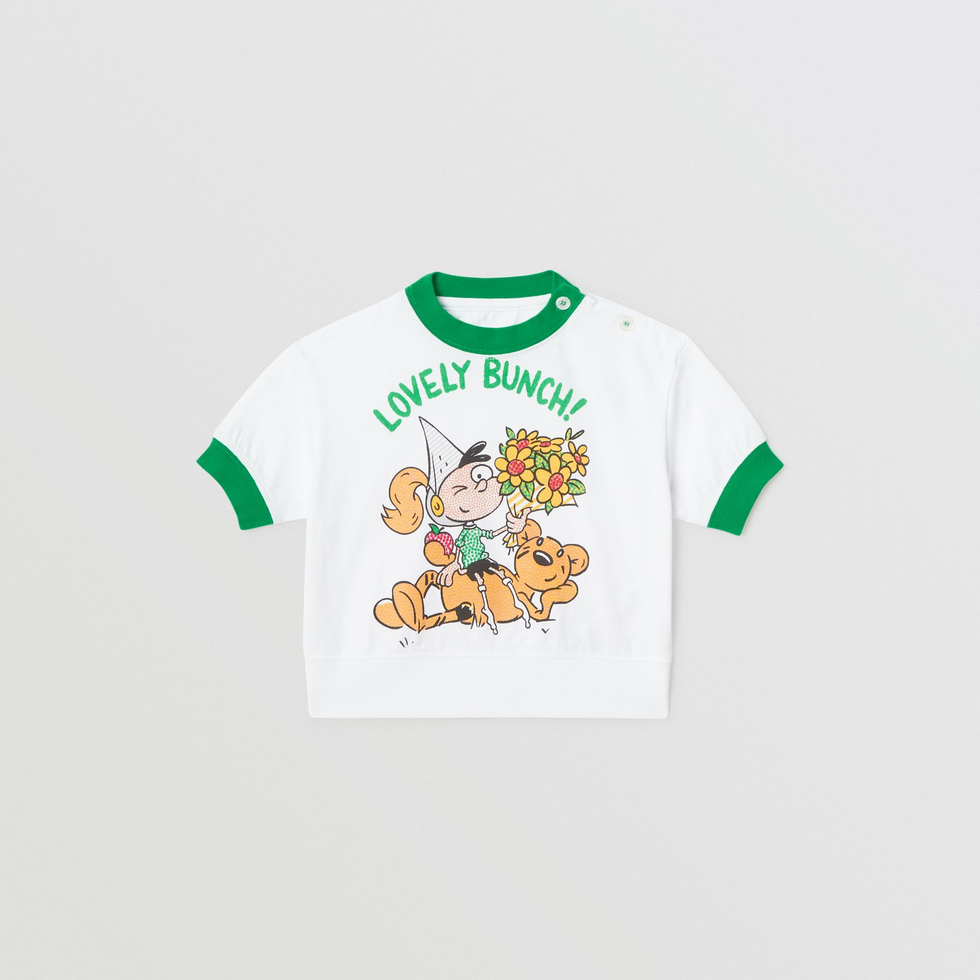 Cartoon Print Cotton T-shirt in White - Children | Burberry Hong Kong - gallery image 0