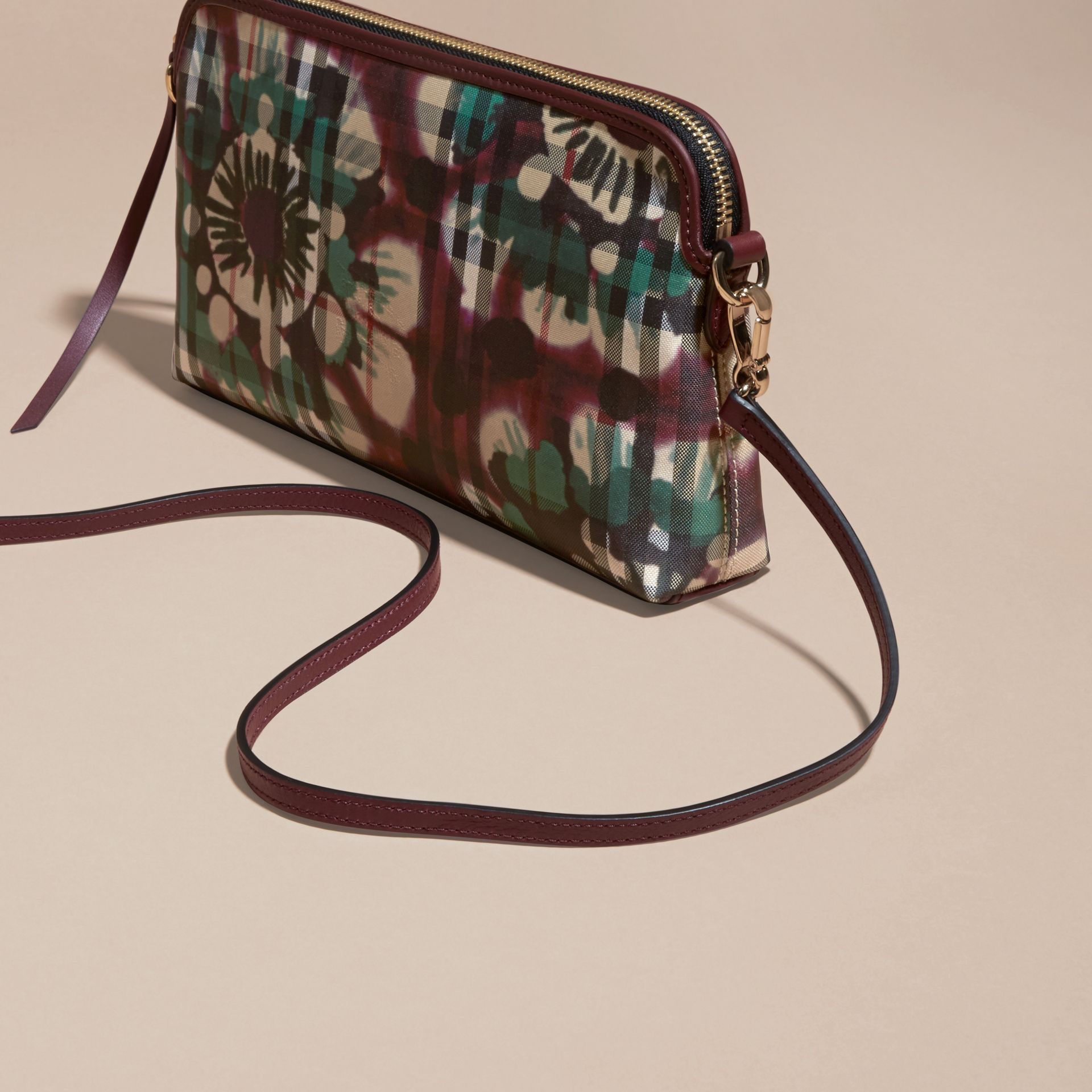 Deep claret Tie-dye Print Horseferry Check and Leather Clutch Bag Deep Claret - gallery image 6