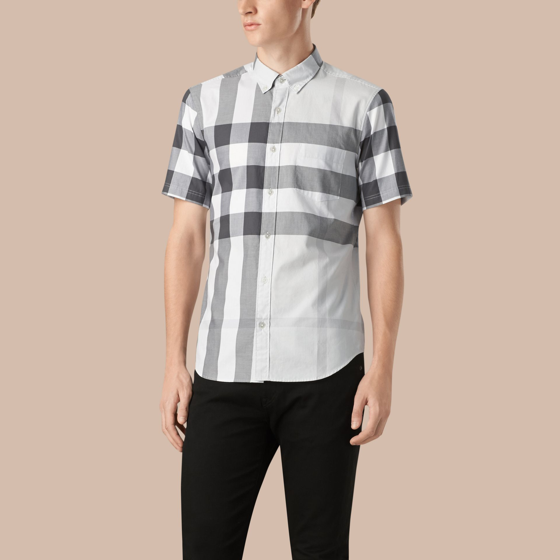 Pale stone Short-sleeved Check Cotton Shirt Pale Stone - gallery image 1