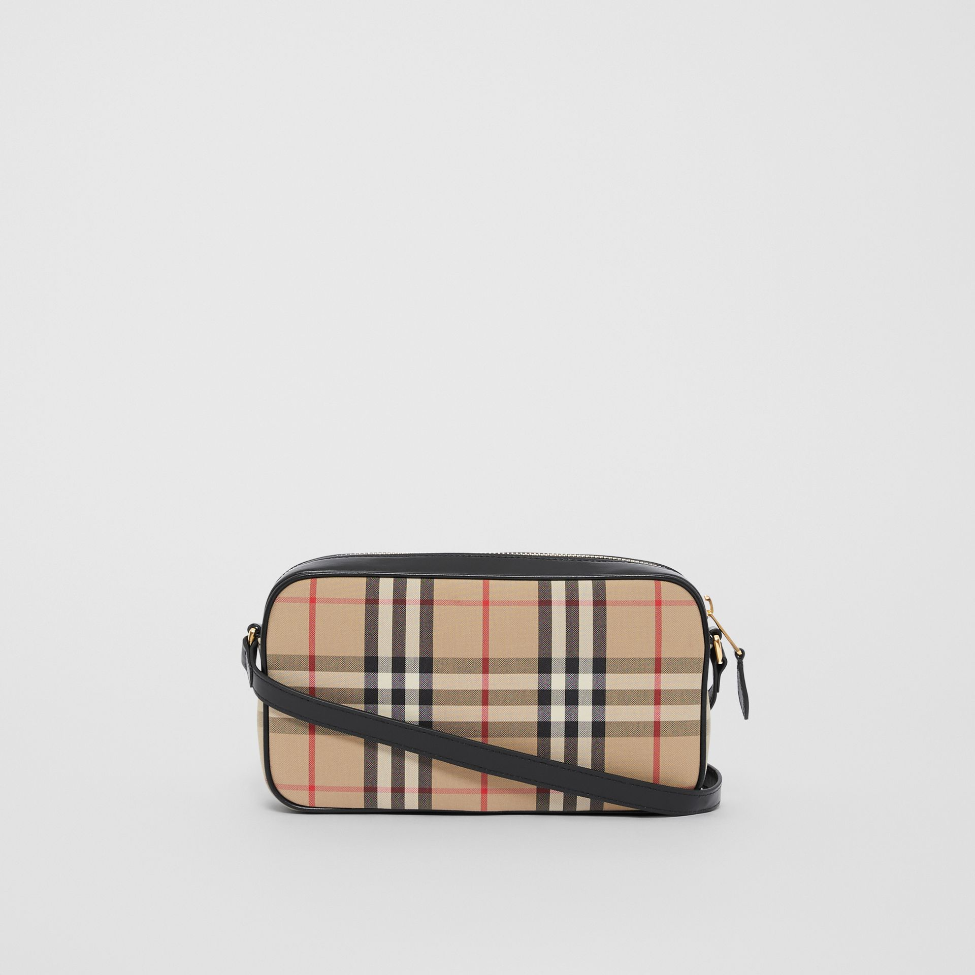 Small Vintage Check and Leather Camera Bag in Archive Beige - Women | Burberry - gallery image 7