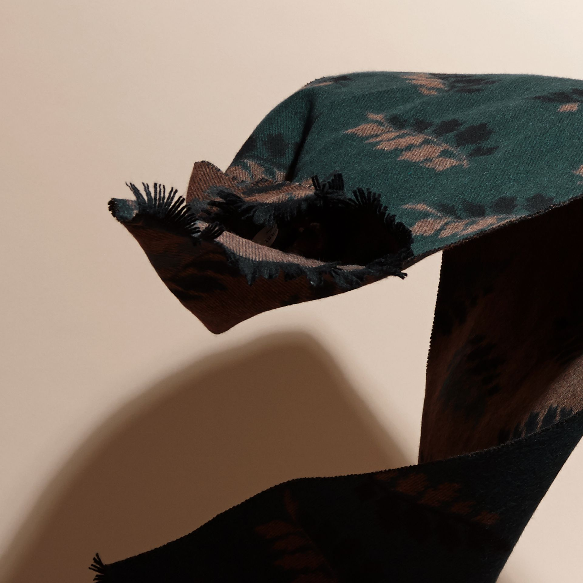 Dark teal green Leaf Jacquard Cashmere Scarf Dark Teal Green - gallery image 4