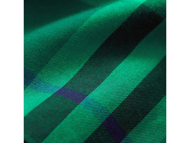 Button-down Collar Check Cotton Shirt in Pigment Green | Burberry - cell image 1