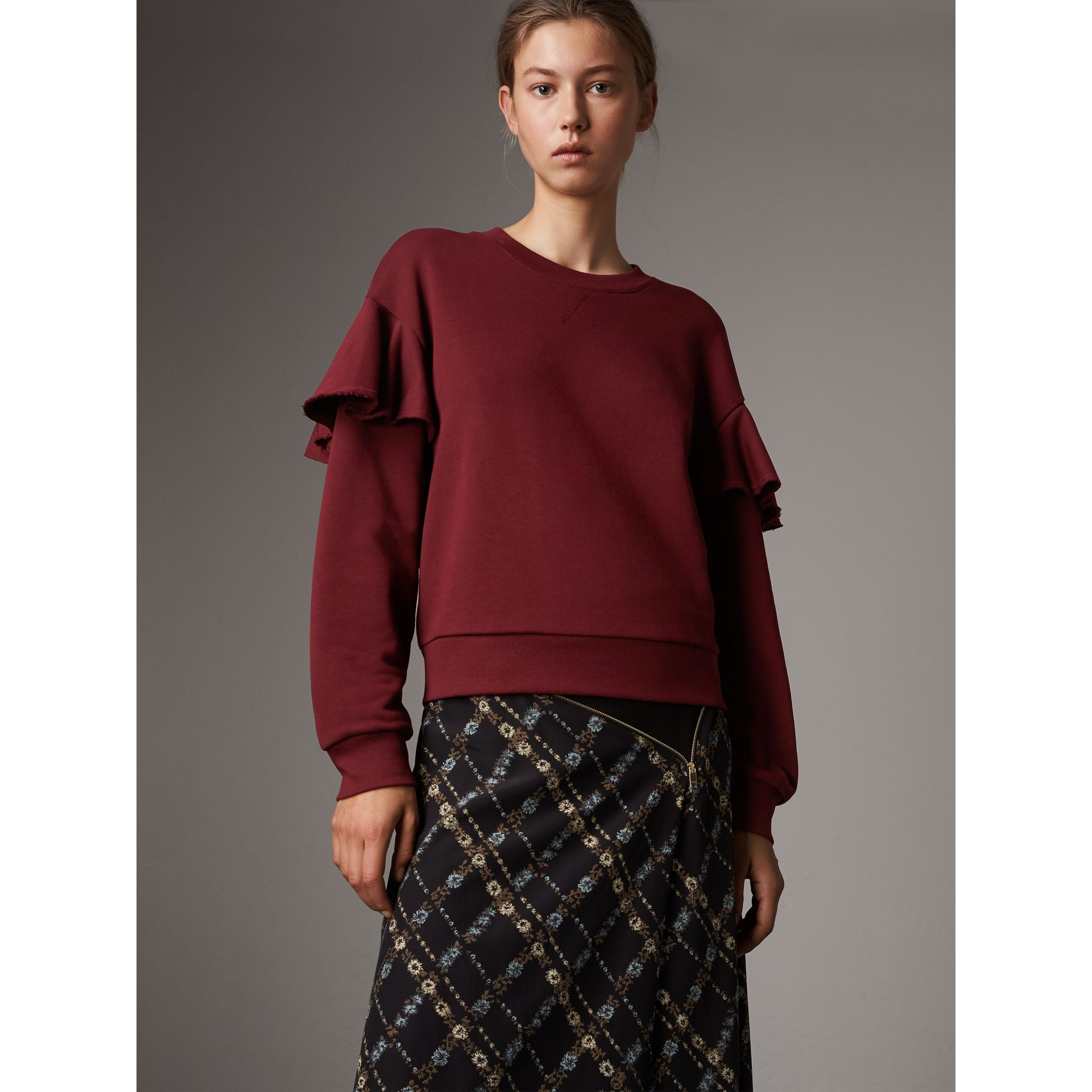 Ruffle Detail Cotton Jersey Sweatshirt in Dark Plum - Women | Burberry - gallery image 1