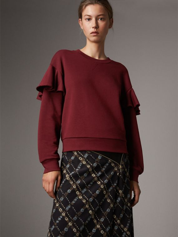 Ruffle Detail Cotton Jersey Sweatshirt in Dark Plum