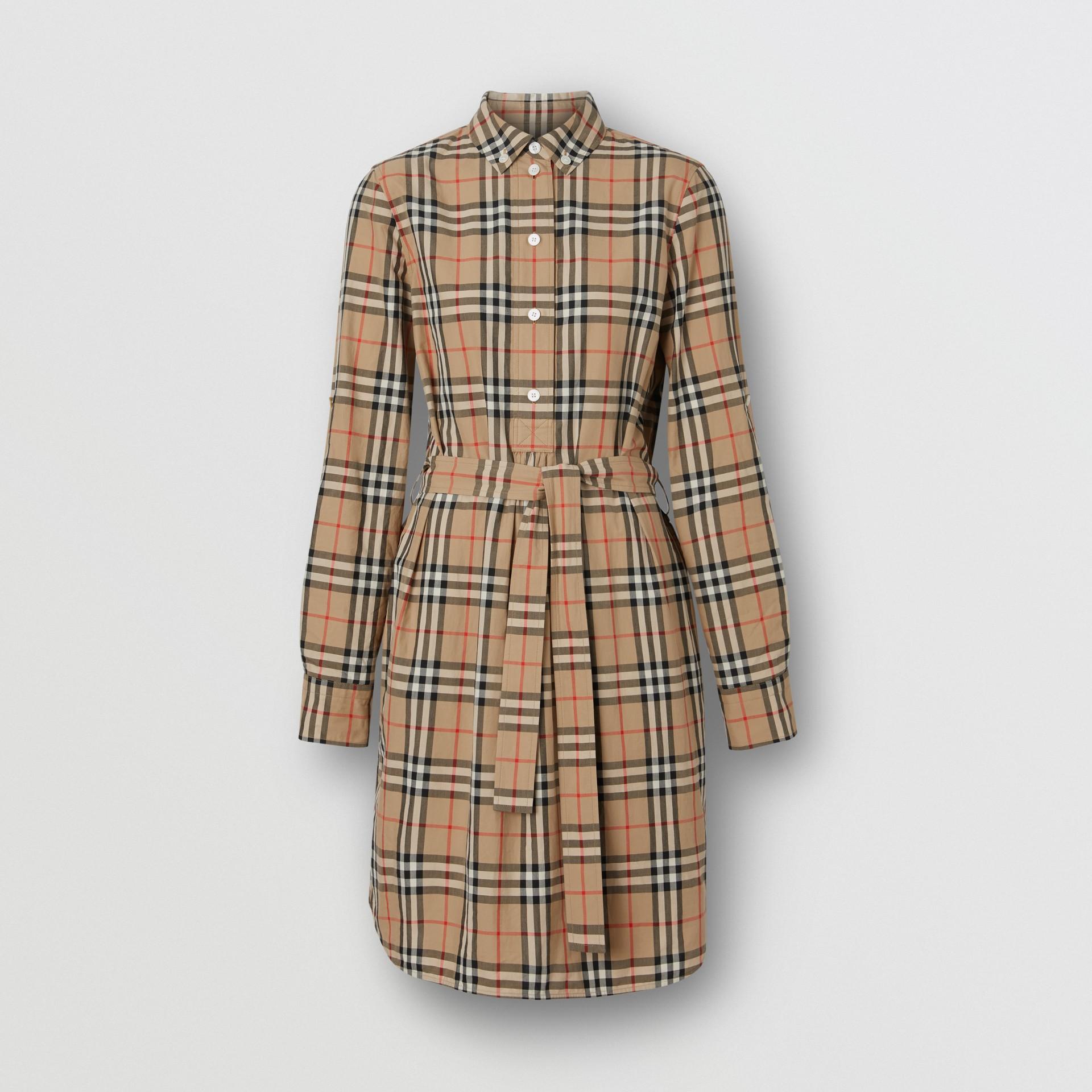 Vestido estilo camisa de algodão em Vintage Check com cinto de amarrar (Bege Clássico) - Mulheres | Burberry - galeria de imagens 3
