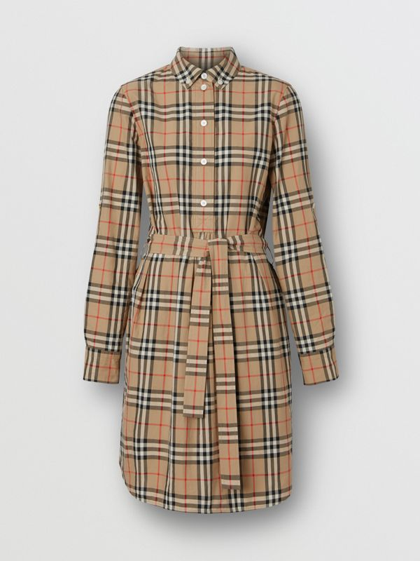 Vintage Check Cotton Tie-waist Shirt Dress in Archive Beige - Women | Burberry Singapore - cell image 3