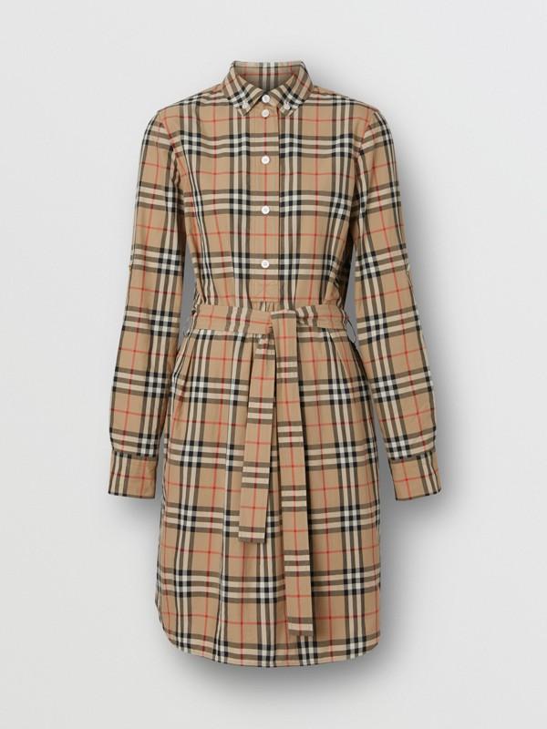 Vestido estilo camisa de algodão em Vintage Check com cinto de amarrar (Bege Clássico) - Mulheres | Burberry - cell image 3