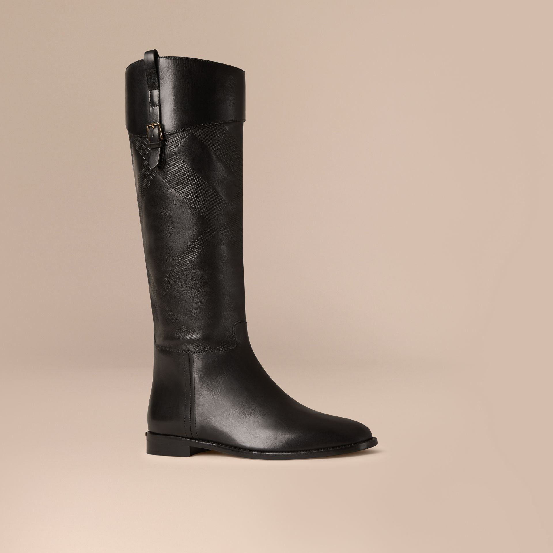 Black Check Detail Leather Riding Boots - gallery image 1