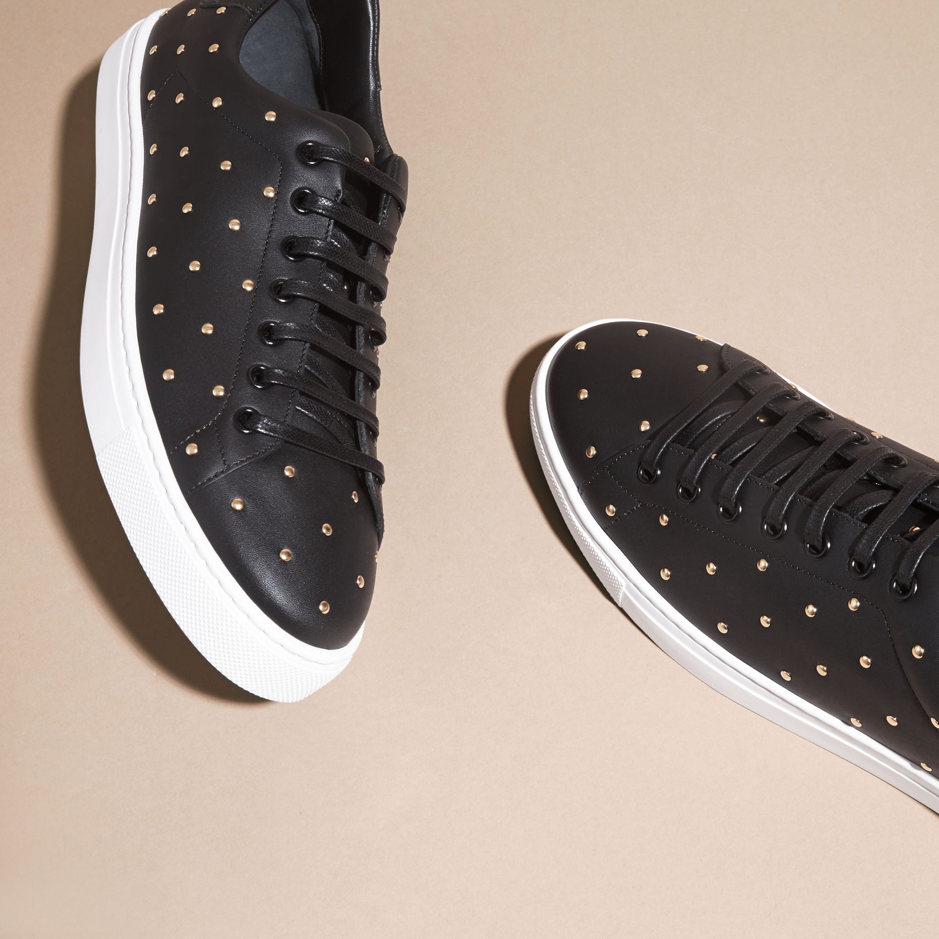 Black Studded Leather Sneakers - gallery image 3