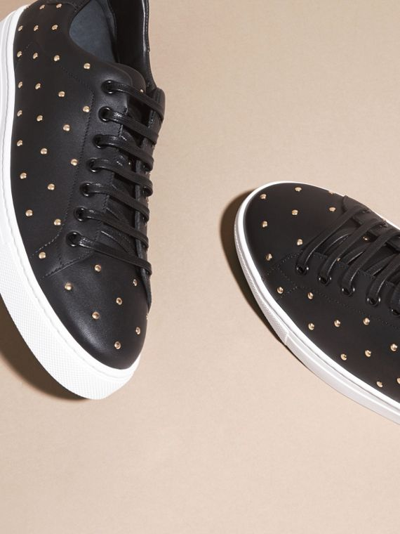 Black Studded Leather Sneakers - cell image 2