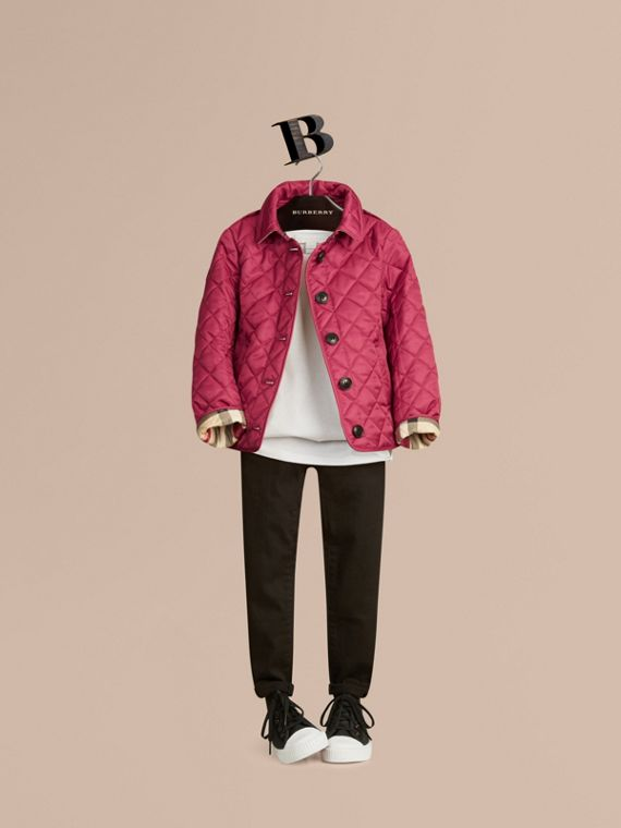 Check Lined Diamond Quilted Jacket in Fritillary Pink - Girl | Burberry
