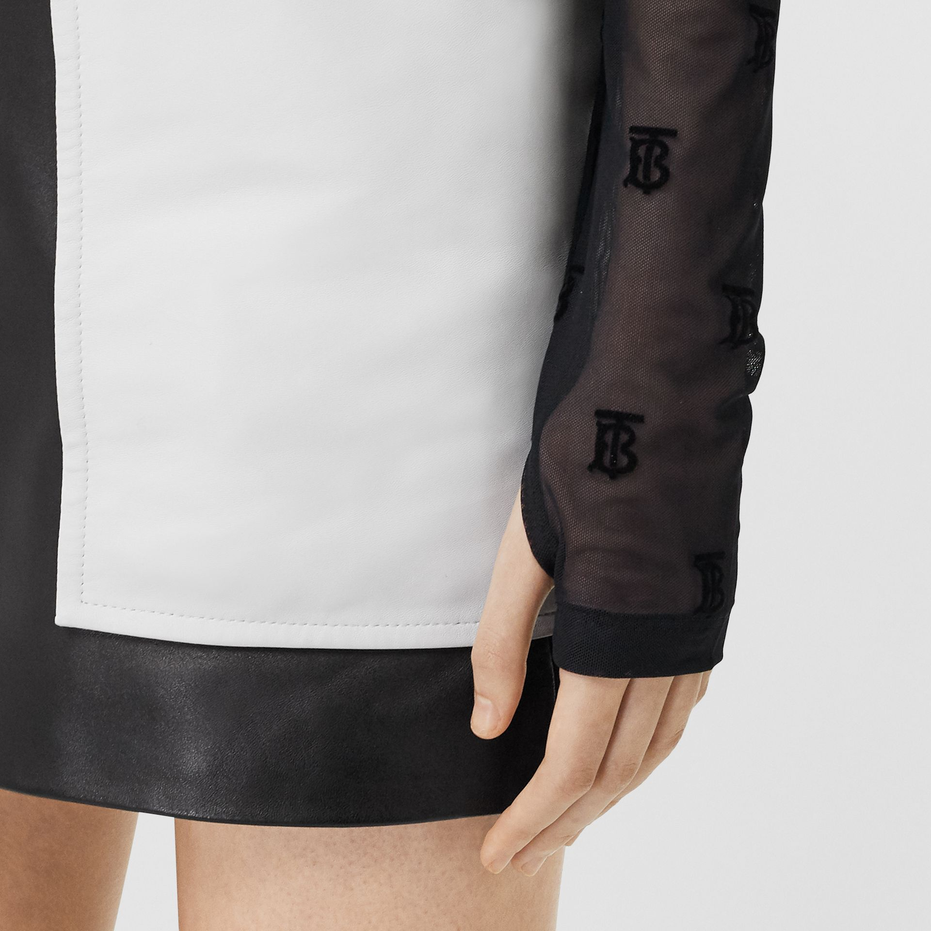 Monogram Motif Flock Mesh Turtleneck Top in Black - Women | Burberry - gallery image 4
