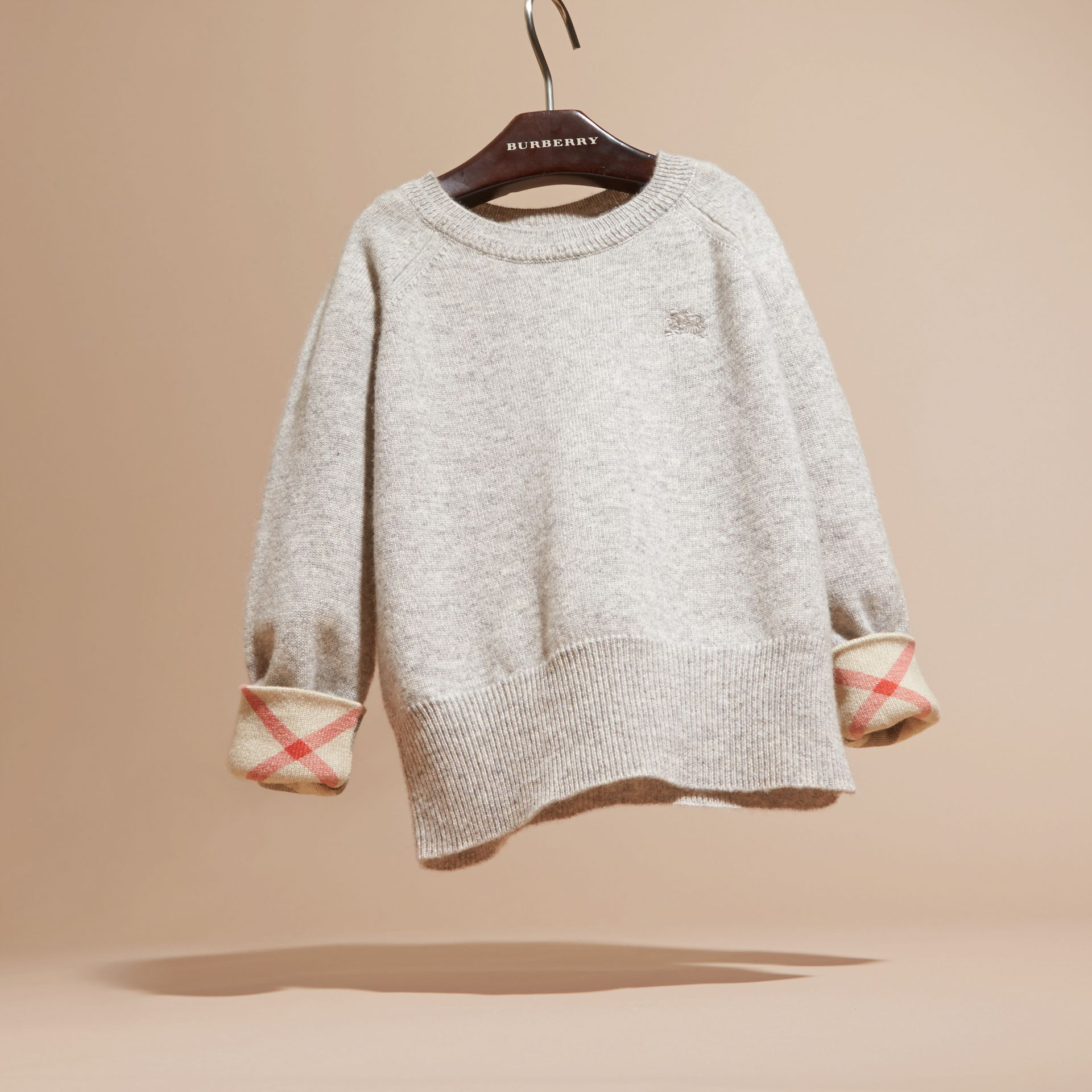 Check Detail Cashmere Sweater in Light Grey Melange - Girl | Burberry - gallery image 3