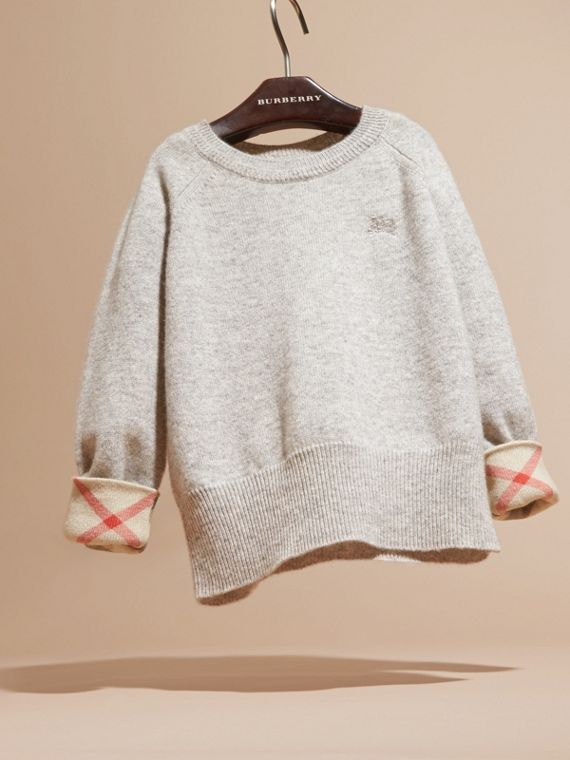 Check Cuff Cashmere Sweater in Light Grey Melange - cell image 2