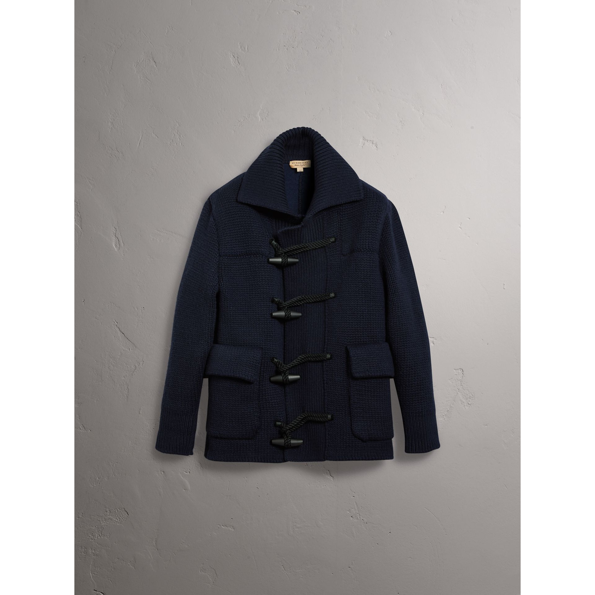 Knitted Wool Cashmere Blend Jacket in Navy - Men | Burberry - gallery image 3