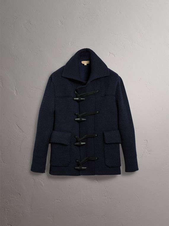 Knitted Wool Cashmere Blend Jacket in Navy - Men | Burberry - cell image 3