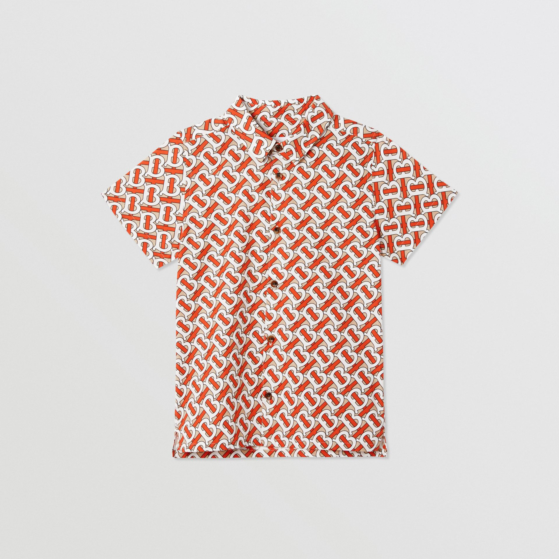 Short-sleeve Monogram Print Cotton Poplin Shirt in Vermilion Red | Burberry - gallery image 0