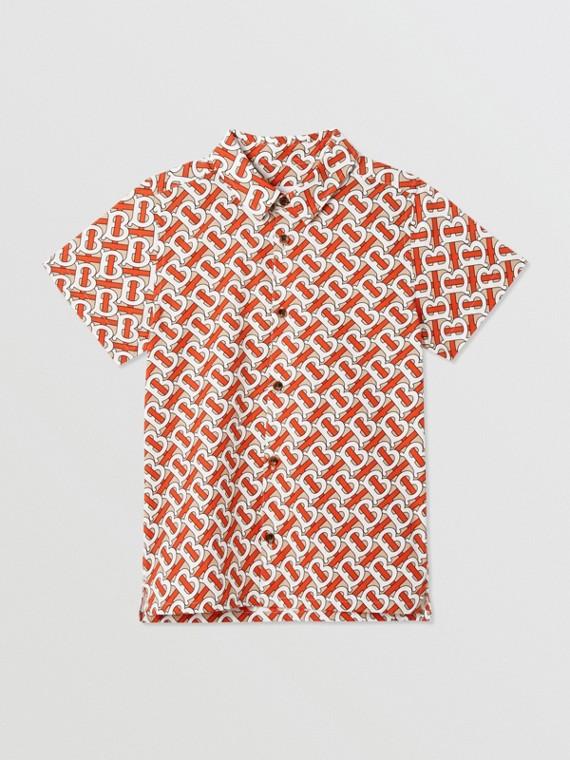 Chemise à manches courtes en popeline de coton Monogram (Rouge Vermillon)