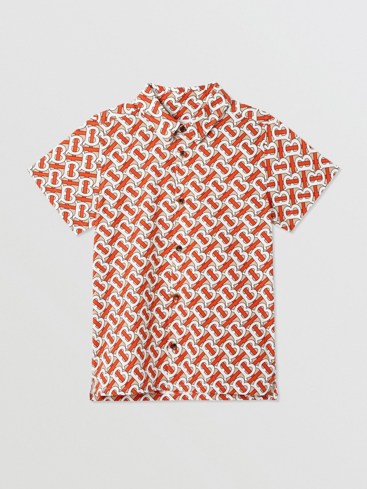 Short-sleeve Monogram Print Cotton Poplin Shirt in Vermilion Red