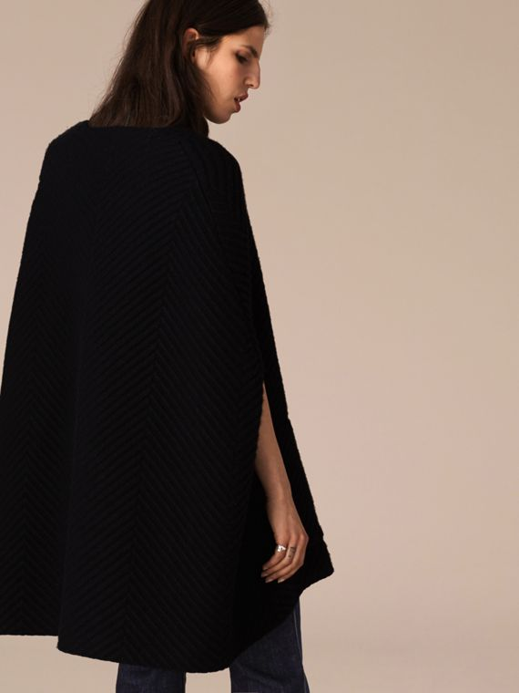 Black/white Ribbed-knit Cashmere Wool Cape - cell image 2