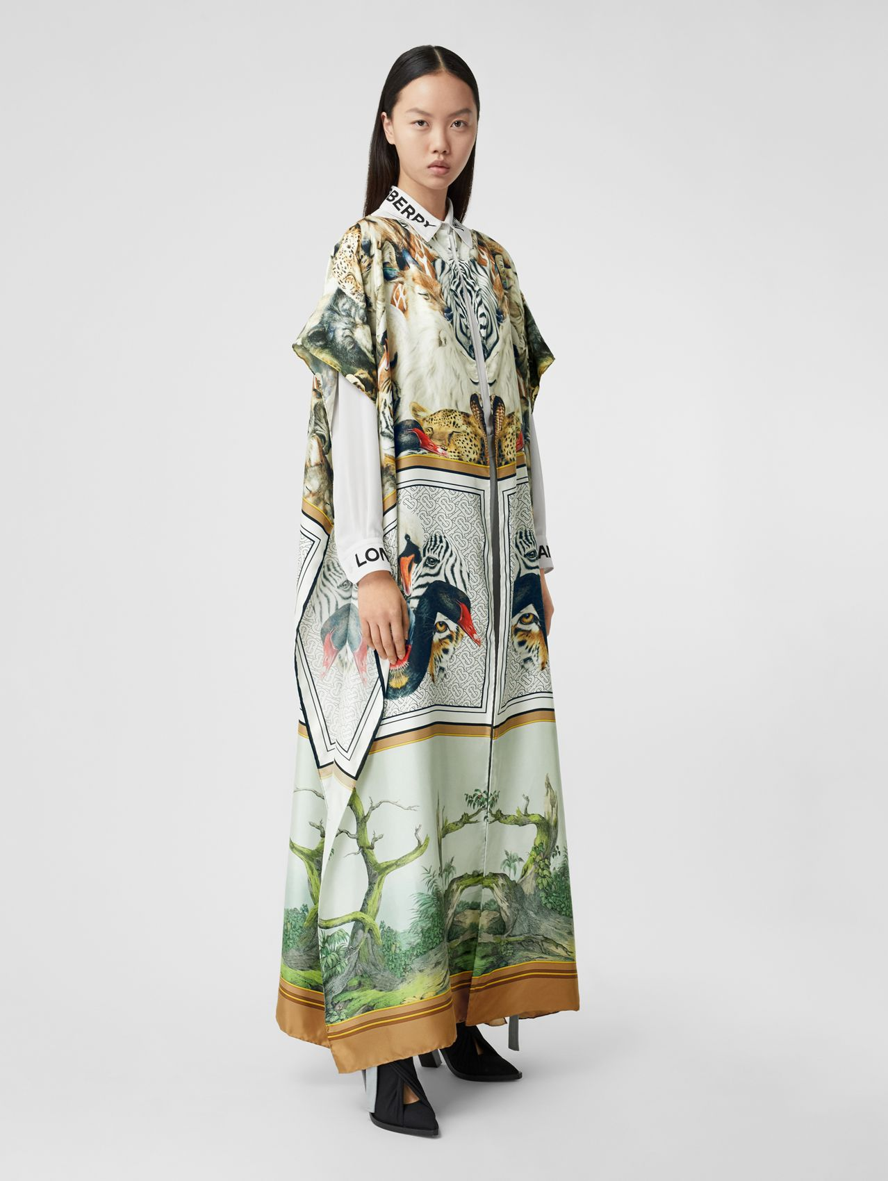 Montage Print Silk Twill Cape in Multicolour