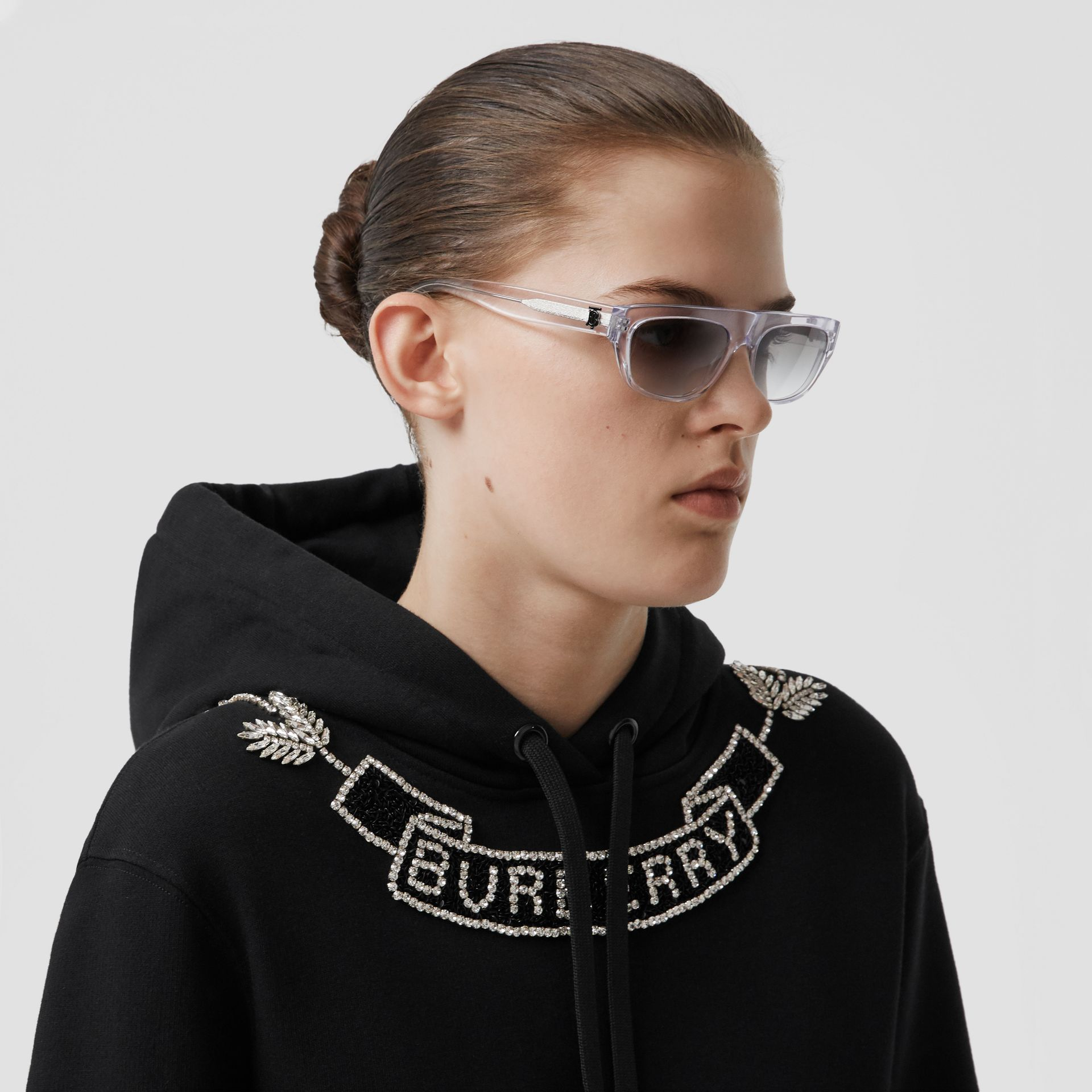 Embellished Cotton Oversized Hoodie in Black - Women | Burberry - gallery image 1